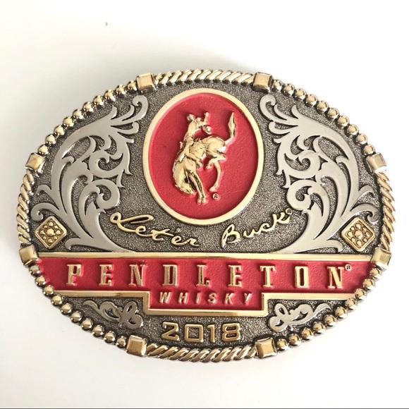 2018 MONTANA SILVERSMITHS Pendleton Whisky Belt Buckle Let/'er Buck